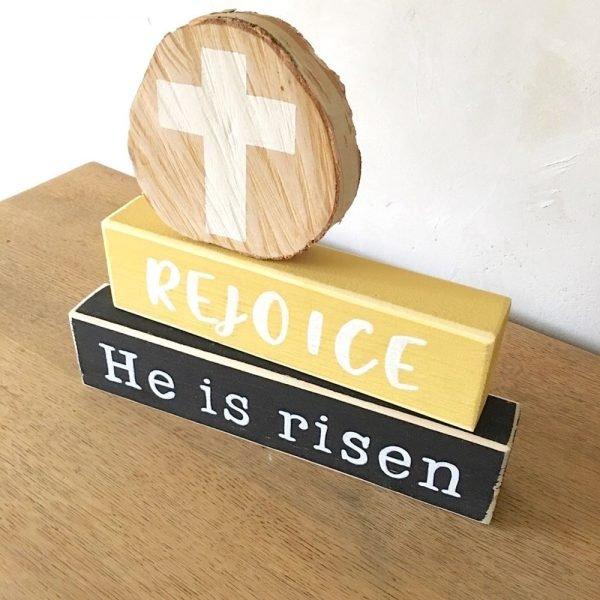 Blokkenset Rejoice berk-wit-geel-zwart 1 woordenvanwaarheid christelijke tekst op hout