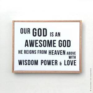 Our God is an awesome God Bijbeltekst op canvas woordenvanwaarheid
