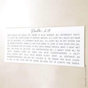 Christelijke tekst op canvas Psalm 23 op canvas bijbeltekst wanddecoratie woordenvanwaarheid