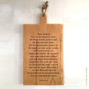 Serveerplank Onze Vader Mattheus 6 christelijke teksten op hout woordenvanwaarheid
