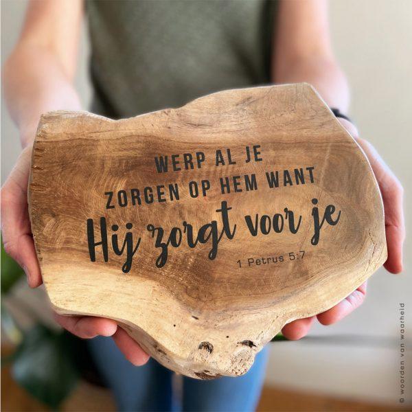 Tekst op teakhout bijbeltekst christelijke tekst op hout woordenvanwaarheid