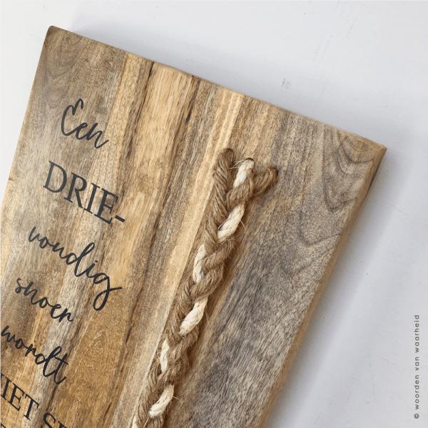 Mango plank Prediker 4-12 2 met touw christelijke teksten op hout bijbeltekst woordenvanwaarheidkopie