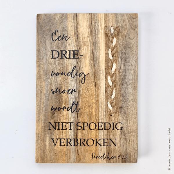 Mango plank Prediker 4-12 met touw christelijke teksten op hout bijbeltekst woordenvanwaarheid