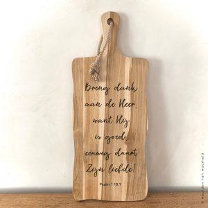 Psalm 118-1 christelijke tekst op hout plank bijbeltekst woordenvanwaarheid