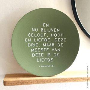 Bamboe 1 Korinthe 13 christelijke tekst op hout plank bijbeltekst woordenvanwaarheid