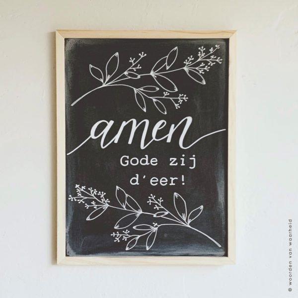 Krijtbord Amen Gode zij d'eer christelijke tekst op hout plank bijbeltekst woordenvanwaarheid