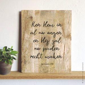 Spreuken 3-6 op mangohout 30x40 christelijke tekst op hout plank bijbeltekst woordenvanwaarheid