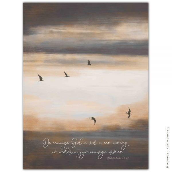 Vogels Deuteronomium 33-27 wandkleed exclusive christelijke tekst op hout plank bijbeltekst woordenvanwaarheid