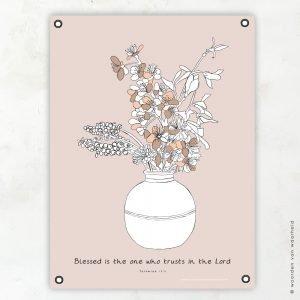 Bloemen Jeremia 17-7 tuinposter woordenvanwaarheid christelijke teksten bijbeltekst