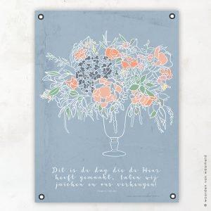 Vaas bloemen tuinposter woordenvanwaarheid christelijke teksten bijbeltekst