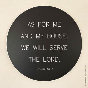 Muurcirkel hout 1 Joshua 24-15 christelijke tekst op hout plank bijbeltekst woordenvanwaarheid
