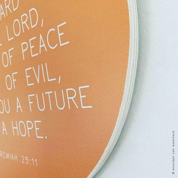 Muurcirkel hout 3 Jeremiah 29-11 christelijke tekst op hout plank bijbeltekst woordenvanwaarheid