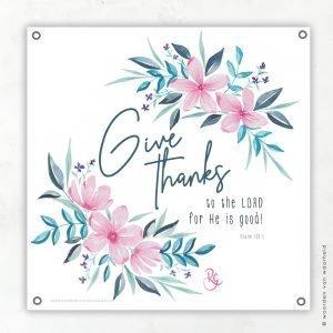 Give thanks Rosa tuinposter woordenvanwaarheid