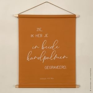Jesaja 49 cognac wandkleed christelijke tekst op hout plank bijbeltekst woordenvanwaarheid