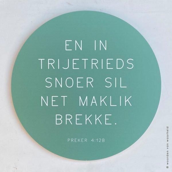 Muurcirkel Preker 4-12 Fryske bibeltekst christelijke tekst op hout plank bijbeltekst woordenvanwaarheid