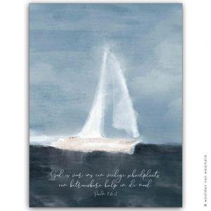 Schip Psalm 46-2 wandkleed exclusive christelijke tekst op hout plank bijbeltekst woordenvanwaarheid