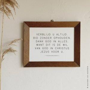 Exclusive 1 Thess 5 christelijke tekst op hout plank bijbeltekst woordenvanwaarheid