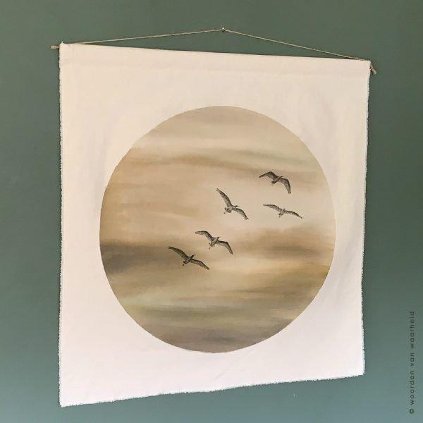 Kom bij Mij - vogels wandkleed exclusive christelijke tekst op hout plank bijbeltekst woordenvanwaarheid