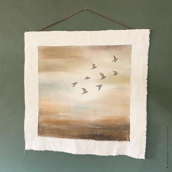 Vogels-Rust wandkleed exclusive christelijke tekst op hout plank bijbeltekst woordenvanwaarheid