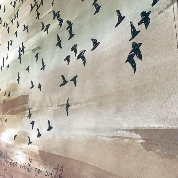 Exclusive Zwerm vogels 3 wandkleed exclusive christelijke tekst op hout plank bijbeltekst woordenvanwaarheid