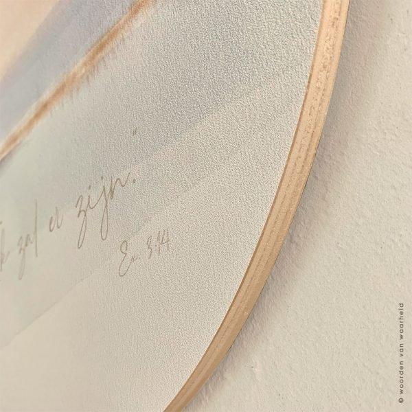 Ik ben - Muurcirkel christelijke tekst eigen tekst op hout bijbeltekst woordenvanwaarheid