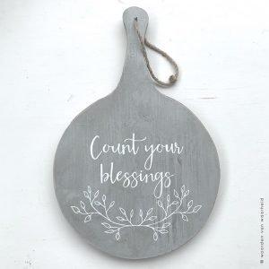 Plank grijs Count your blessing christelijke teksten op hout woordenvanwaarheid