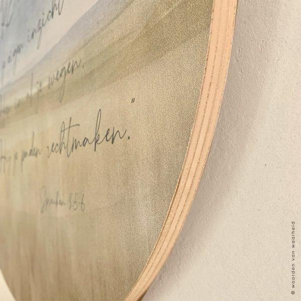 Spreuken 3 Muurcirkel christelijke tekst eigen tekst op hout bijbeltekst woordenvanwaarheid